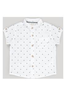 Camisa Estampada De Ancoras Com Linho Branca