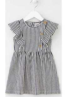 Vestido Infantil Listrado Com Babados E Botões - Tam 1 A 4 Anos