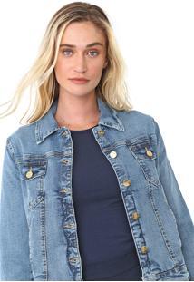 Jaqueta Jeans Lança Perfume Estonada Azul