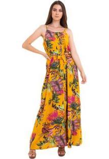 Vestido Kinara Longo Botão Feminino - Feminino-Amarelo