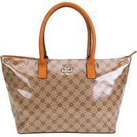 4990a95915 Bolsa Capodarte Shopper Monograma Feminina - Feminino-Caramelo+Bege