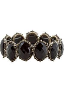 Bracelete Pedra Oval Preta - Preto