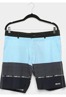 Boardshort Onbongo Hibrida Listras Masculino - Masculino-Azul