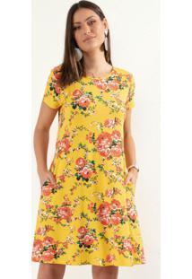 Vestido Curto Floral Amarelo Com Bolsos