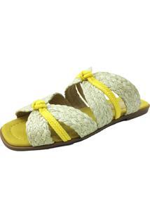 Rasteira Antonietta Palha Yellow Amarelo