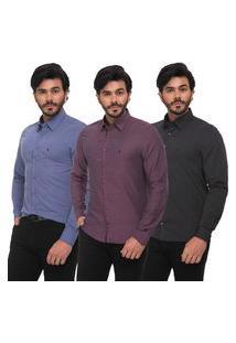 Kit 3 Camisas Camisetas Social Fit Zaiko Manga Longa