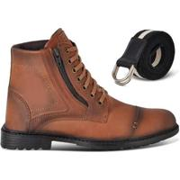 80287edef Kit Bota Coturno Vicerinne Masculino Couro Legítimo + Cinto - Masculino -Caramelo