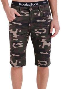 Bermuda Rock&Soda Masculina Militar Sarja Com Bolsos Casual - Masculino-Verde Militar