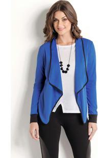 Casaco Azul Royal Frente Assimétrica