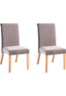 Conjunto Com 2 Cadeiras De Jantar Classic Cinza E Castanho