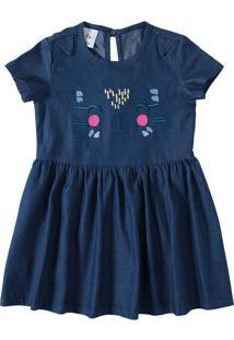 Vestido Jeans Com Bordado Menina Zig Zig Zaa Azul Claro - 6