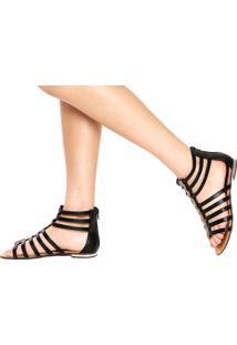 Rasteira Dafiti Shoes Gladiadora Strass Preta