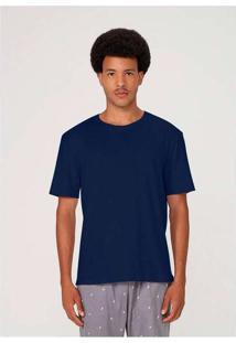 Camiseta Masculina Em Malha De Algodão Azul