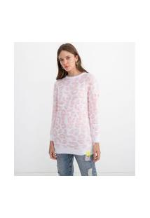 Suéter Animal Print Com Pelos | Blue Steel | Branco | G