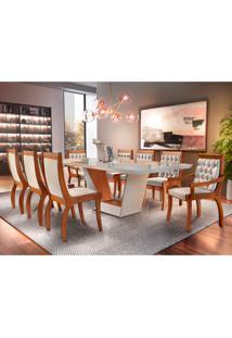 Conjunto De Mesa De Jantar Rubi Com 8 Cadeiras Suede Off White
