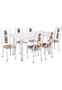 Conjunto De Mesa Com 6 Cadeiras Helena Branco E Bege Vermelho