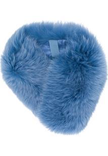 N.Peal Cachecol De Cashmere Com Pele - Azul