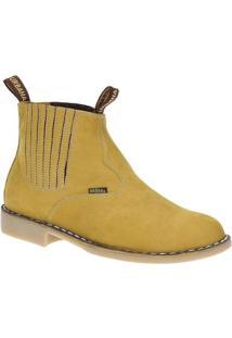 Bota Couro Vira Francesa Urbana Boots Masculina - Masculino-Amarelo