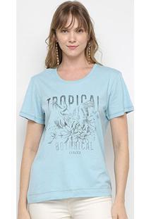 Camiseta Colcci Tropical Feminina - Feminino-Azul