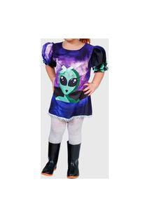 Vestido Ummi Infantil Et Manga Bufante Roxo