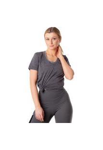 Camiseta Feminina Under Armour V Neck Twist Cinza