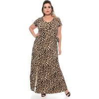 98fbf04c47 Chic e Elegante. Vestido Longo Leopardo Plus Size