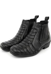 Bota Chelsea Bico Quadrado Couro Escamada Br2 Footwear Masculina - Masculino-Preto