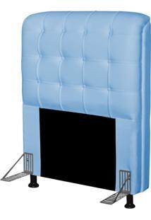 Cabeceira Para Cama Box Solteiro 90 Cm Califórnia Corino Azul Bebe - Js Móveis