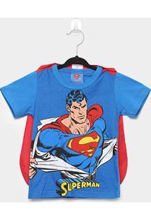 Camiseta Infantil Marlan Superman + Capa Masculina - Masculino-Azul