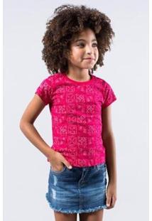Camiseta Infantil Carimbos Reserva Mini Feminina - Feminino-Pink