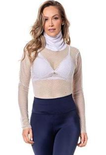 Camiseta Feminina Vazada Manga Longa Conforto Dia A Dia - Feminino-Branco