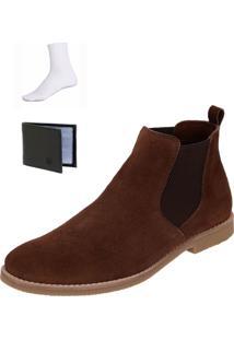 Bota Chelsea Boots Confortável Escrete Couro 502 Café + Brinde - Kanui