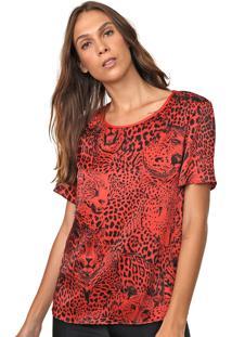 Camiseta Carmim Animal Print Vermelha/Preta