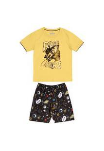 Pijama Primeiros Passos Abrange Espaço Amarelo E Preto Abrange Casual Amarelo