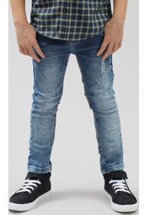 Calça Jeans Infantil Skinny Com Puído Azul Médio