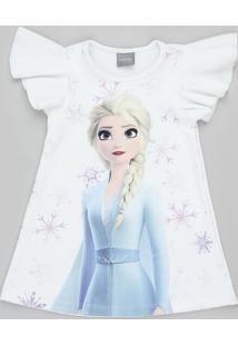 Vestido Infantil Elsa Frozen Com Babado Na Manga Off White