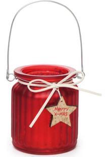 Porta Vela Com Alça Metal Decoração Natal 9 X 7Cm Vermelha