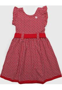 Vestido Milon Infantil Estampado Vermelho/Branco