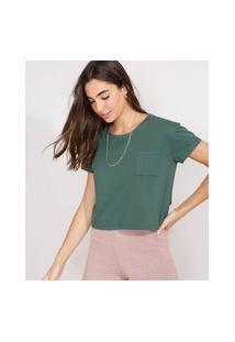 Camiseta Feminina Básica Manga Curta Cropped Com Bolso Decote Redondo Verde Militar