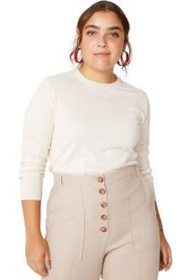 Amaro Feminino Suéter Tricot Básico, Off-White