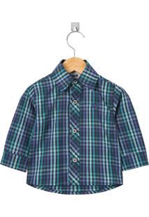 Camisa Look Jeans Manga Longa Azul Marinho