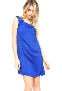 Vestido Ellus Curto Zíper Azul