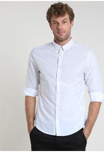 Camisa Masculina Slim Estampada De Folhagens Com Degradê Manga Longa Branca