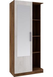 Armário Multiuso Com 1 Porta 28Mu1004 - Rodial - Cacau / Blanc