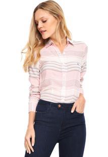 Camisa Polo Wear Reta Listrada Branca Rosa 80f3bb3d92fb1