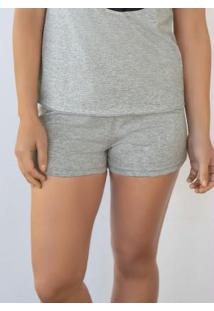 Short De Pijama Mescla Com Estampa Localizada