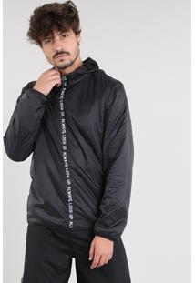 Jaqueta Corta Vento Masculina Esportiva Ace Com Capuz Preta