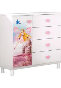 Cômoda Infantil Carruagem Branco/Rosa Com Pés - Móveis Estrela