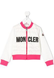 Moncler Kids Jaqueta Matelassê Com Logo - Branco