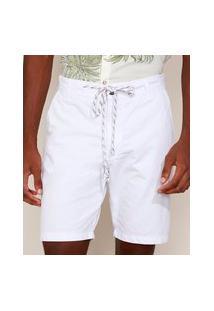 Bermuda De Sarja Masculina Reta Chino Com Cordão Branca